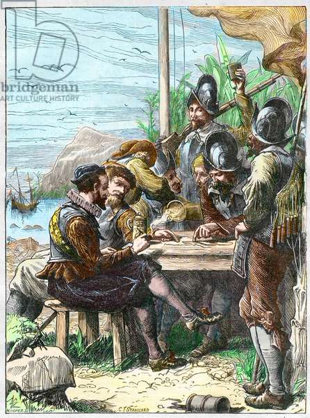 Sir Walter Raleigh at Trinidad, getting Information from the Spanish Soldiers regarding Guiana, 1595. - Expedition by Walter Raleigh (1554-1618) English explorer to Trinidad (island south of the Caribbean), South America, 1595. Colourful engraving of the 19th century.