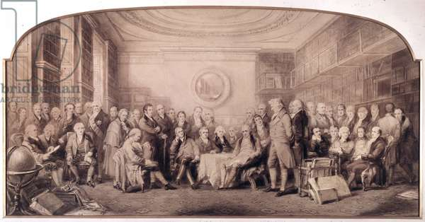 The eminent men of science in 1807-1808. Meeting in the library of the Royal Institute of Sciences, England. Engraving by William Walker and Sir John Gilbert (1817 - 1897) - Eminent Men of Science Living in 1807 - Eminent Men of Science, 1807-08, Assembled in the Library of the Royal Institution - by William Walker and Sir John Gilbert - William Allen, Francis Baily, Sir Joseph Banks, Bt, Samuel Bentham, Matthew Boulton, Joseph Bramah, Robert Brown, Sir Marc Isambard Brunel, Edmund Cartwright, Henry Cavendish, Sir William Congreve, 2nd Bt, Samuel Crompton, John Dalton, Sir Humphry Davy, Peter Dollond, Bryan Donkin, Archibald Cochrane, 9th Earl of Dundonald, Henry Fourdrinier, Davies Gilbert, Charles Hatchett, William Henry, Sir William Herschel, Edward Charles Howard, Joseph Huddle Art, Edward Jenner, William Jessop, Henry Kater, Sir John Leslie, Nevil Maskelyne, Henry Maudslay, Patrick Miller, William Murdock, Robert Mylne, Alexander Nasmyth, John Playfair, John Rennie Sr, Sir Francis Ronalds, Sir Benjamin Thompson, Count von Rumford, Daniel Rutherford, Charles Stanhope, 3rd Earl Stanhope, William Symington, Thomas Telford, Charles Tennant, Thomas Thomson, Richard Trevithick, James Watt, William Hyde Wollaston, Thomas Young