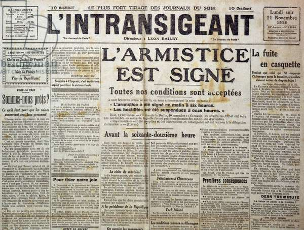 "Detail of 25989: One of """" The Intransigent"""""" of 11/11/1918 announcing """" the armistice is sign"""""