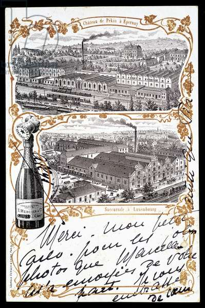 "Chateau de Beijing in Epernay and the branch in Luxembourg of Champagne ""Mercier"""". Sd. early 20th century"