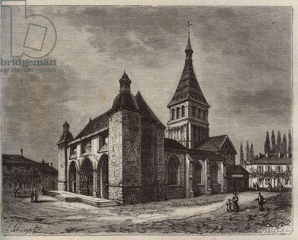 "Notre Dame de Wassy - Haute-Marne en région Champagne-Ardenne - engraving in ""La France illustree: geography, history, statistical administration"" by V.-A. Malt-Brown. 1884"