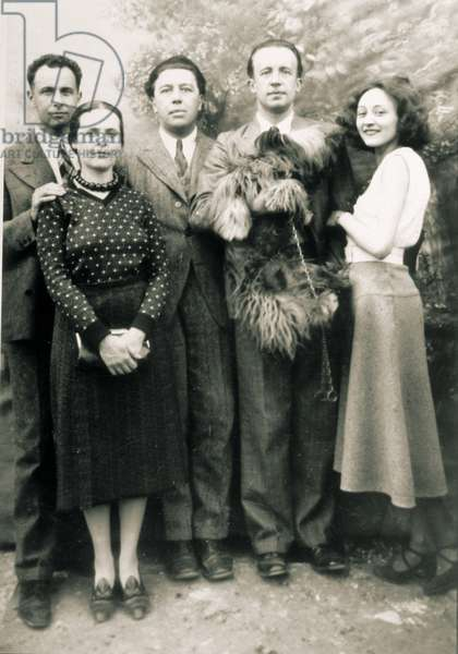 Louis Aragon, Elsa Triolet, Andre Breton and Paul and Nusch Eluard, 1930 (b/w photo)
