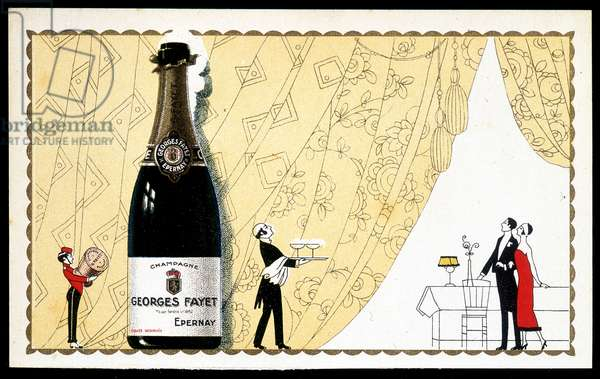 Advertising card for Champagne Georges Fayet, deb. 20th century