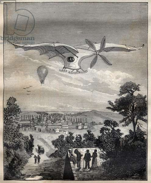 """The new aerostats: the bird of Clement Ader (1841-1925), the Eole, during an experiment in the park of Eugene Pereire near Paris in 1891, it would have flown 15 m above the ground - Engraving In """"La Science francaise"""", 1891 - History of aviation: Clement Ader (1841-1925) flying in his steam powered aircraft, the Eole (also called Avion), in 1891 - Engraving from """""""" La Science francaise"""""""", 1891"""