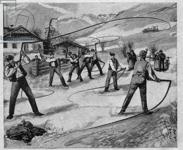 Le claqueurs du salskammergut - salskammergut: On several Sundays after the New Year, the young men of Salzburg (Austria) crack whips to wake nature from her winter sleep - engraving 1897