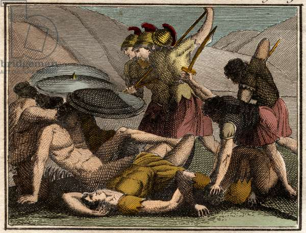 Persian Wars / Battle of Thermopylae 480 BC. The Spartan king Leonidas and his men fall in the battle.
