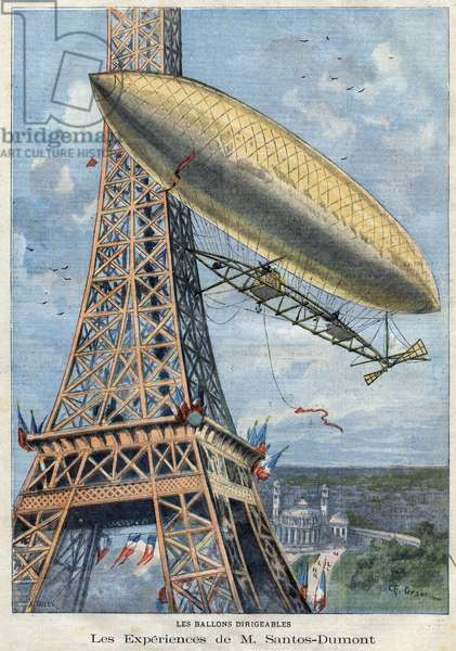 "The experiences in airship balloon of Mr. Alberto Santos-Dumont (Santos Dumont, 1873-1932) a bresilian aviation pioneer near the Eiffel Tower in Paris. Engraving in """" Le Petro Parisien"""" on 28/07/1901."