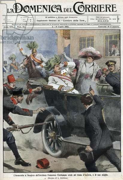 Assassination of Franz Ferdinand  and his wife Sophie, Sarajevo, Bosnia, 28th June 1914 (colour litho)