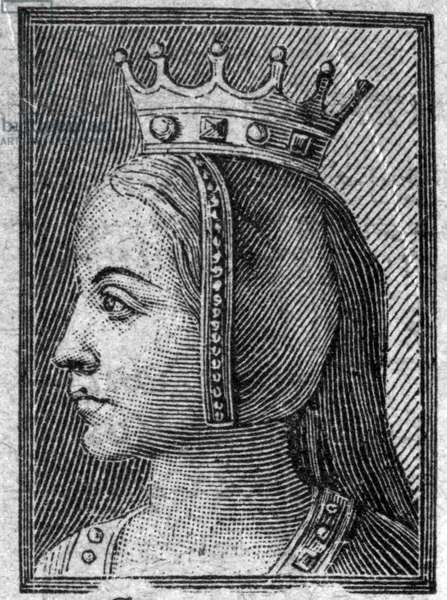 Portrait of Gerberge of Saxony (ca. 913-968 or 969), Queen of France, wife of Louis IV of Outremer.