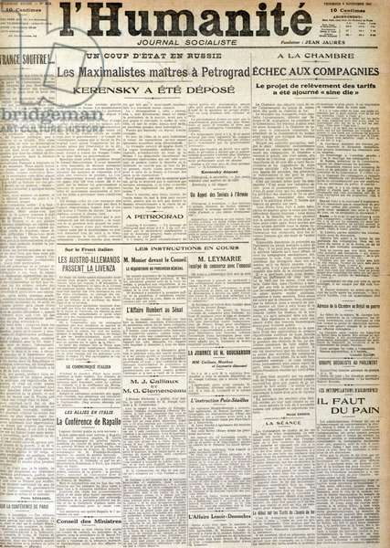 The main feature of The Humanity of Friday, November 9, 1917 announcing a coup in Russia (Russian Revolution) private collection