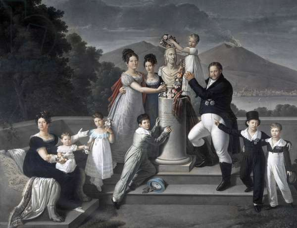 """(Family of King Francesco I of the Two Sicilies). From lefto right: Maria Isabella di Borbone-Spain (second wife of Francesco I), Maria Carolina Ferdinanda, Maria Antonietta Grand Duchess di Toscana, Luisa Carlotta, Maria Cristina Queen of Spain, Ferdinando II, Maria Amalia, Francesco I, Carlo Prince of Capua and Leopoldo Count of Siracusa - engraving after Cammarano - Portrait by Francois I of the Two- """"From left to right, Marie-Isabelle of Spain (1789-1848), Amelie, Marie-Antoinette, Louise Charlotte and Marie Christine and Antoine Pascal, Leopold Benjamin Charles Joseph, Ferdinand II and Ferdinand - engraving after Painting by Giuseppe Cammarano"""