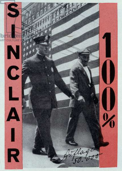 """Reproduction of the photomontage of Helmut Herzfeld known as John Heartfield (1891-1968) illustrating Upton Sinclair's """"100%"""" coverage in 1928. Private Collection"""