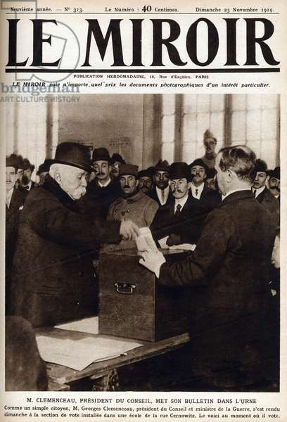 """Council President Georges Clemenceau putting his ballot in the ballot box on the occasion of the legislative elections of 16 November Cover of """""""" The mirror"""" 23/11/1919"""