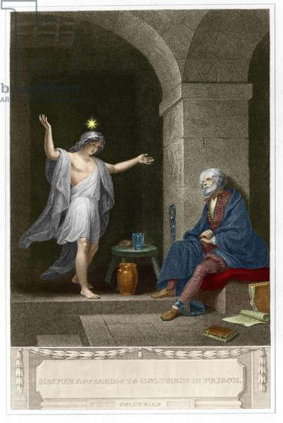 Hesper appears before Christopher Columbus chained in his prison. Engraving by Anker Smith (1759 - 1819).