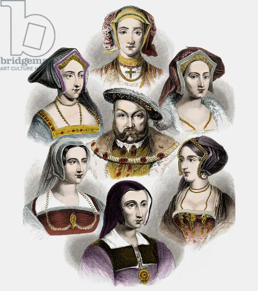 King Henry VIII of England and his six wives, c.1890 (litho with later colouration)