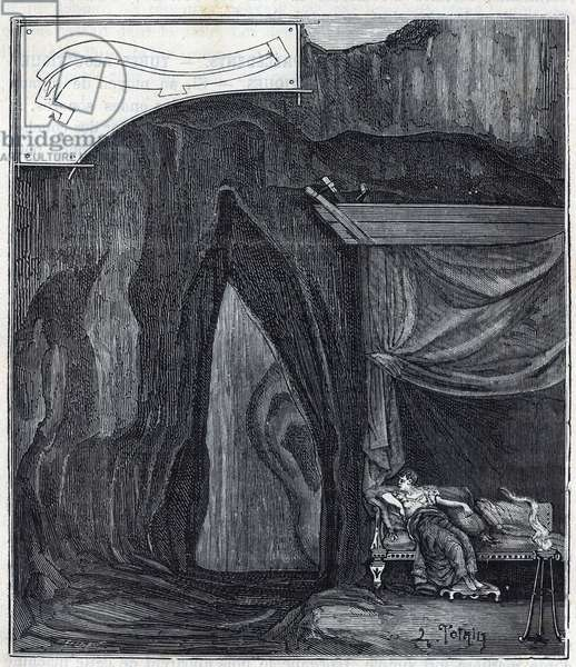 """Ear of Dionysius - Orecchio di Dionisio (Orecchio di Dionigi) - Interior of the cave known as the Ear of Denys in Syracuse - Engraving in """""""" Sciences brought to the graceful of all - physics and chemistry"""""""" by Alexis Clerc - End of 19th century. Private collection."""