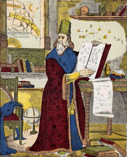 Portrait of Michel de Notre Dame (Nostradamus) French astrologer - Portrait of Nostradamus, Michel de Notre Dame (1503-1566) French astrologer and doctor - Engraving