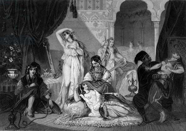 """A Christian captive in Harem. In """"The General History of the Navy"""" by Van Tenac, 1850"""