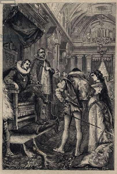 "The marriage of Giulia Farnese with Orsino Orsini in the house of Rodrigo Borgia 1489 - engraving from 'Lucrezia Borgia"""" by Oscar Pio - 1883"