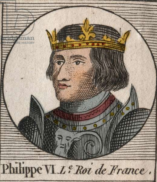 "Portrait of Philippe VI of Valois (1294 - 1350), King of France - Philip VI of Valois (1293-1350) King of France - engraving from ""Instruction sur l'Histoire de France"""" by Charles Constant Le Tellier 1821"