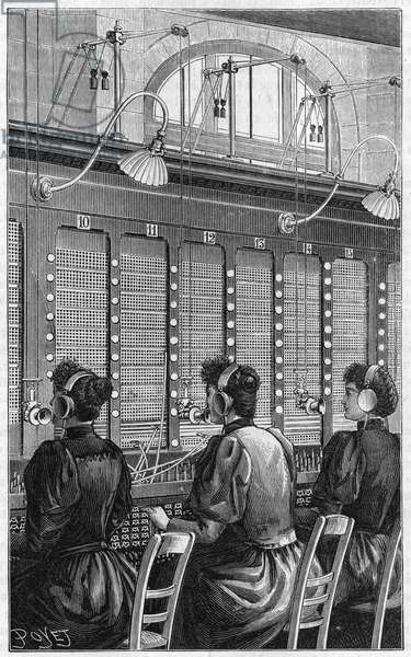 Telephone office (central telephonique - standard telephonique) of rue Gutenberg in Paris in 1895. Multiple table section of 240 subscribers served by 3 telephonists.