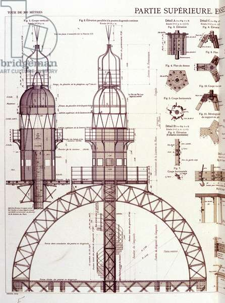 Upper part (3rd floor) of the Eiffel Tower - industrial design, 19th century