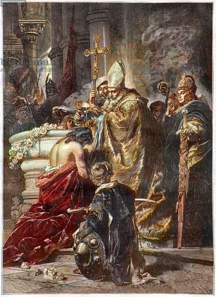 The Baptim of Saint Stephen (c970-1038), Saint and First king of Hungary - baptised by saint Adalbert of Prague After a work by Gyula Benczur - The Hungarian prince Vajk is baptized by Saint Adalbert of Prague and takes the name of Stephen (St Stephen I King of Hungary -Szent Istvan, Santo Stefano or Stephanus I, circa 967 or 975-1038) - Engraving after the Painting by Gyula Benczur (1844 -1920)
