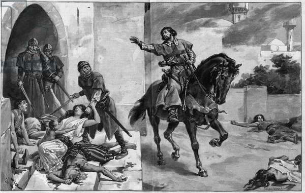 """1st crusade: capture of Jerusalem by Godefroy (Godefroi) de Bouillon (1060-1100), 15 July 1099. The Crusader travels the streets in an attempt to appease his compatriots, who continues to kill the inhabitants after the capture of the city. Drawing by Edouard Zier, engraving by Navellier Marie in """""""" Journal des Voyages"""""""" of November 26, 1899."""