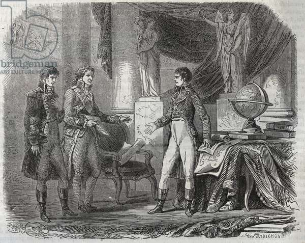 """Lord Cornwallis (1738-1805) negotiating the Treaty of Amiens (1802) with Napoleon Bonaparte (1769-1821) - the Peace of Amiens, France - Treaty signed March 1802 which ended the Revolutionary Wars, 1791-1802 between France and Britain, Austria, Prussia, and other continental powers) - engraving from """""""" Histoire populaire de la France"""" 1866"""