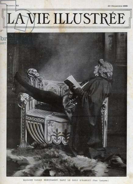 Sarah Bernhardt (1844-1923) in the role of Hamlet by Shakespeare - cover of the Illustered Life of 1899