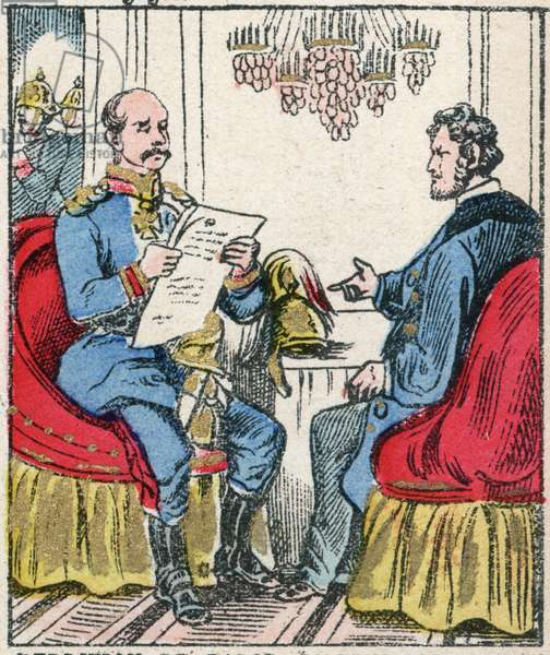 """Franco-Prussian War (1870-1871) interview between Count Bismarck and M. Jules Favre, September 1870 - political interview between Chancellor Bismarck (1815-1898), Jules Favre (1809-1880) in Versailles in the house of Madame Jesse - engraving in """"Histoire de France from the most remote times to the present day"""" drawing by Jules Pacher. Patriotic imagery of Pont-Mousson. Late 19th century. Private collection."""