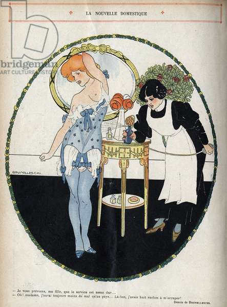 """The new servant: - I warn you, my daughter, that the service is pretty hard... - Oh! ma'am, I will always have less trouble than in the country... Down there, I had eight cows to take care of!. A maid uses a perfume spray to perfume a woman in lingerie. Illustration by Umberto Brunelleschi (1879-1949) In """""""" Le Lire"""""""""""" of 13 June 1908."""