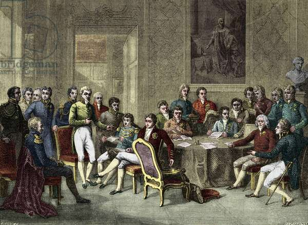 the Congress of Vienna. The Vienna Congress in 1815. Alexander I, Czar; H.R.Stewart, Castlereagh; Francois I, Emperor of Austria; Frederic William III, King of Prussia; Karl August, Prince of Hardenbergh; Wilhelm von Humboldt (William of Humboldt, 1767-1835); Prince of Metternich Winneburg; Count of Nesselrode; Charles Maurice (Charles Maurice (Charles) by Talleyrand Perigord. Engraving of the 19th century.