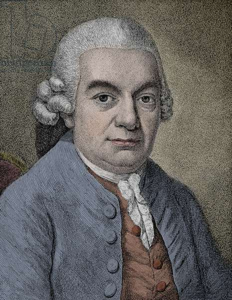 Portrait of Carl Philipp Emanuel Bach (Emmanuel) (1714 - 1788), German composer - Engraving.