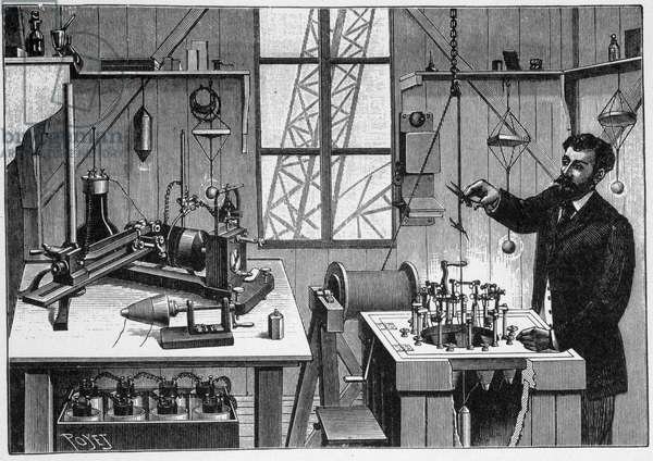 Laboratory of Gustave Eiffel on the second platform of the tower - engraving, 19th century