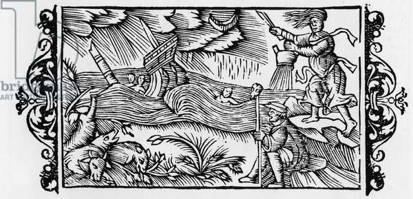 """Wizard dischainting a Tempete - in """"Historia de Gentibus Septentrionalibus"""" (History of the peoples of the North) by Olaus Magnus, Rome 1555"""