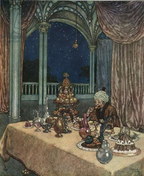 Beauty and the Beast: Belle's father arrives at the castle discovers a table filled with victuals, c.1910 (lithograph)