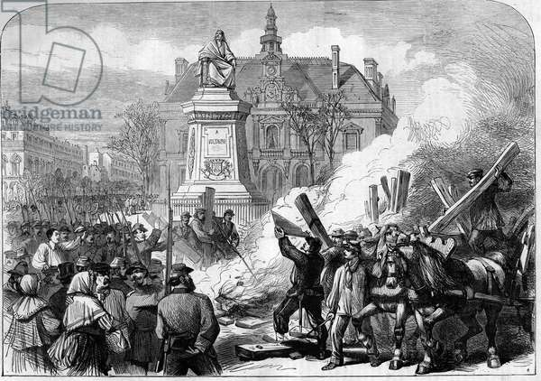 The Paris Commune in 1871. The federes (communards) burn the guillotine at the foot of the statue of Voltaire.