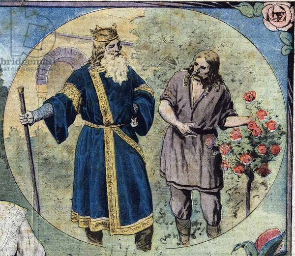 """Representation of Emperor Charlemagne (742-814) during his edit promulgating the cultivation of rose in the cites of the Franks Empire in 812. Illustration taken from """""""" Le petit Journal"""""""" 11/08/1912 Private collection."""