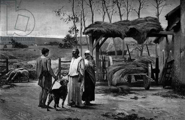 """Bible scene: """"Jacob at Laban."""" Engraving after the painting by Henry Lerolle Henry (1848-1929). In """""""" The Illustrous World"""""""" n°1192 of January 31, 1880."""