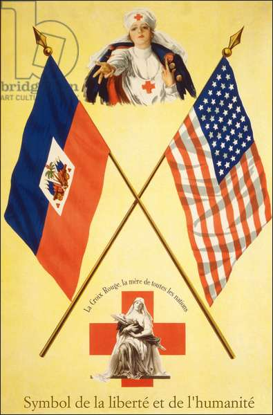 """Red Cross poster """""""" Symbols of Freedom and Humanity - The Red Cross, the Mother of All Nations"""""""", sd. between 1914-1918."""
