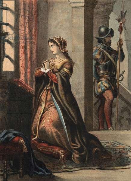 "Anne of Boleyn (Anna or Ann Bolin and Anne Bullen, 1501/1507-1536), Queen of England (1507-1536). Woman of Henri VIII and mother of Elisabeth 1ere.in """" El Culto de la Hermosura"""" by Juan Justo Huguet, Molinas Hermanos editores, 1880 (volume 1) & 1881 (volume 2)."