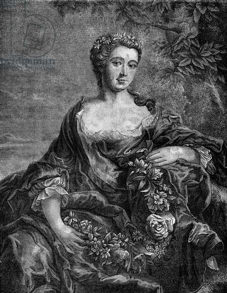 """Portrait of Madame de Chateauroux, Marie-Anne de Mailly-Nesle (1717-1744), favorite of King Louis XV. Engraving in """"The history of prostitution and debauche among all the peoples of the world from antiquity to the present day"""" by Dr. Th. -F. Debray. 1879."""