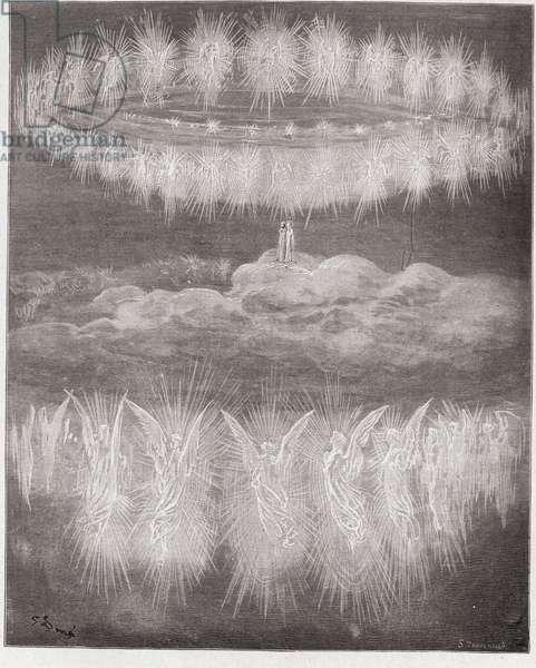 The Divine Comedy (La Divina Commedia, La Divine Comedie), Paradiso, Canto 12: The rings of glorified souls in the sun - by Dante Alighieri (1265-1321) - Illustration by Gustave Dore (1832-1883), 1885