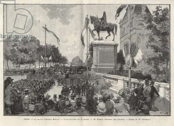 """Paris - - Speech by Mr. Darlot during the inauguration on 15 July 1888 at the Hotel de Ville de Paris of the statue of Etienne Marcel - Drawing by Gerardin in in """"The Illustrous World"""" of 1888"""