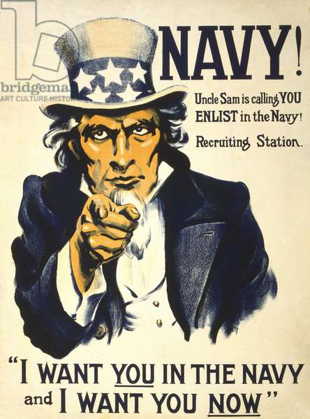 """American poster """""""" Navy! Uncle Sam is colling YOU enList in the Navy! Recruting Station - I want you in the Navy and I want you Now"""""""" edited by Neslie-Judge CO. in New York, 1917.I want you for the American Armee - Engage."""