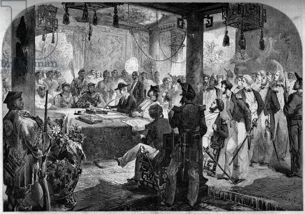 "Second opium war between France and England and China (1858-1860) - signing of the Tianjin Treaty (Tientsin) in 1858: English and French ambassadors Lord Elgin (James Bruce, 1811-63) and Jean Baptiste Louis Gros (1793-1870) and the Chinese plenipotentiaries signed the treaty which opened eleven new Chinese ports to foreign trade. Engraving in """" Le Monde Illustrous"""" n°77 of 2 October 1858."