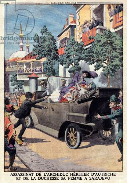 Assassination of Franz Ferdinand, 1863-1914 Archduke of Austria, and his wife Sophie de Hohenberg, 28 June 1914 (engraving)