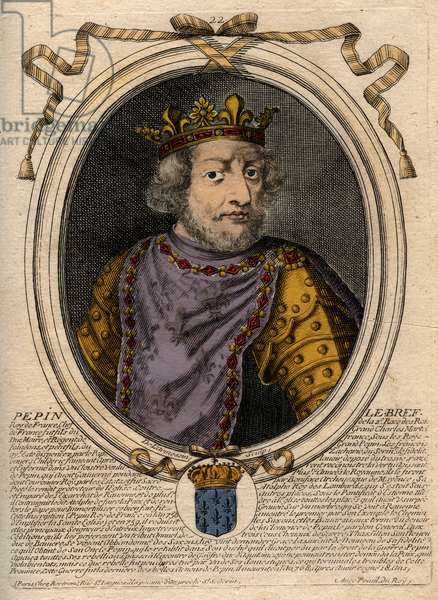 Portrait of Pepin III dit Pepin le Brief (714-768) king of France - Pepin III (714-768) (Pepin the Short) King of the Franks - engraving from 'Les Augustes Representations de tous les Kings de France from Pharamond to LouisXIV', Paris, 1679 by Larmessin (family of engravers) (1600-1799)