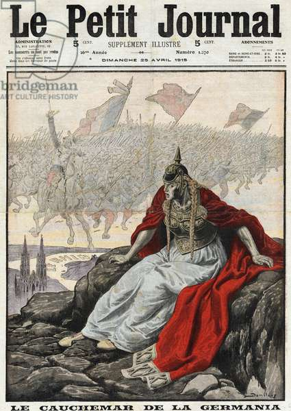 """First World War 1914-1918 (14-18): """"The Nightmare of Germania"""". Allegory of Germany frightened by the advance of the allies (France, England and Belgium). Engraving in """""""" Le Petit Journal"""""""", on 25/04/1915."""